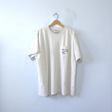 Vintage 90's grey construction graphic tee with pocket, men's size 2XL