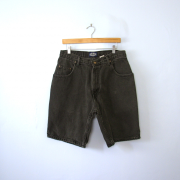 Vintage 80's black denim shorts, jean shorts, men's size 34