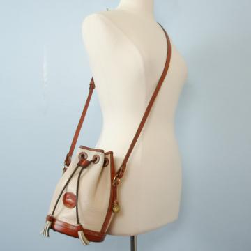 80's Dooney and Bourke bone drawstring bucket bag crossbody purse