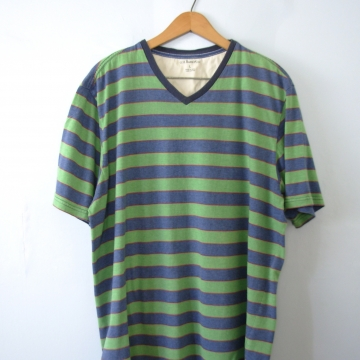Vintage 90's green and blue color block striped tee shirt, men's size large