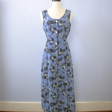 Vintage 90's grunge blue floral sleeveless midi dress, women's size small