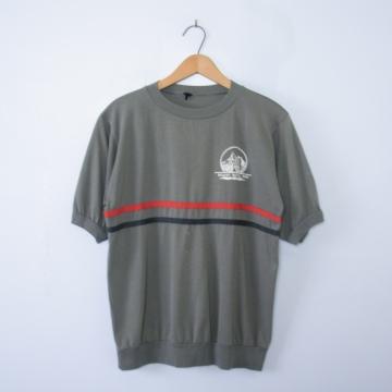 Vintage 80's grey Badlands ringer tee shirt, men's size small