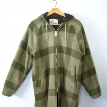 Vintage 70's sage green plaid jacket with hood, lumberjack flannel wool coat, women's size medium