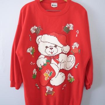 Vintage 80's cute teddy bear christmas sweatshirt, men's small