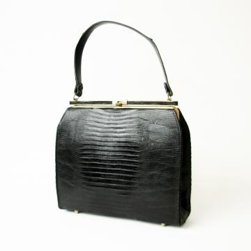 Vintage 50's Lizard skin handbag black leather purse