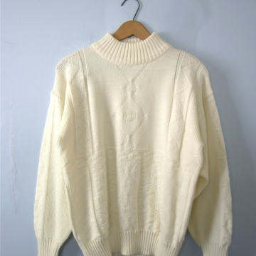 Vintage 80's off white wool sweater, oversized sweater, women's size medium