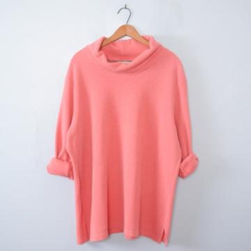 Vintage 80's light pink peach turtleneck long sleeved shirt, women's size 2XL