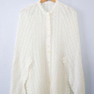 Vintage 80's off white cream knit sweater cape, women's size medium / small