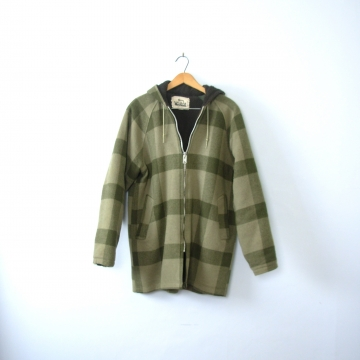 Vintage 70's sage green plaid jacket with hood, lumberjack flannel wool coat, women's size medium