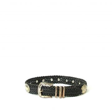 Vintage 80's black braided leather western belt, size medium