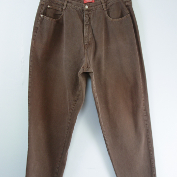 80's brown high waisted jeans with tapered leg, women's size 22 / 24