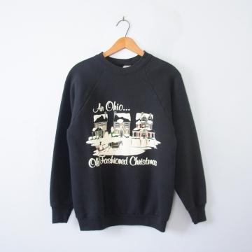 Vintage 80's Ohio old fashioned Christmas sweatshirt, men's medium / small