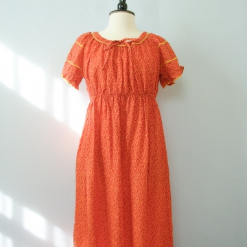 70's ditsy calico red prairie dress, women's size large