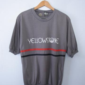 Vintage 80's grey Yellowstone ringer tee shirt, men's size XS