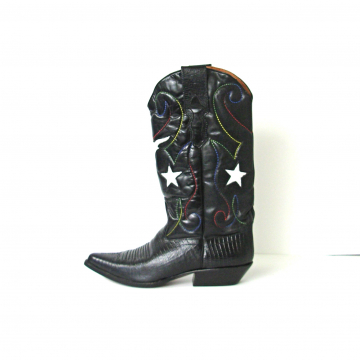 Vintage 80's star spangled black western cowboy boots, women's size 7.5