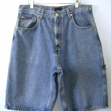 Vintage 90's Tommy Hilfiger denim shorts, carpenter jean shorts, men's size 34