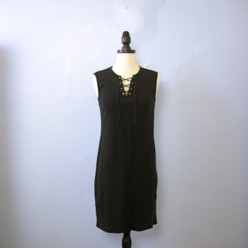 Vintage 90's ribbed knit sleeveless black mini dress, size small