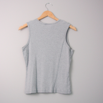 90's grey ribbed tank top, women's size large