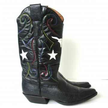 Vintage 80's star spangled black western cowboy boots, women's size 7.5