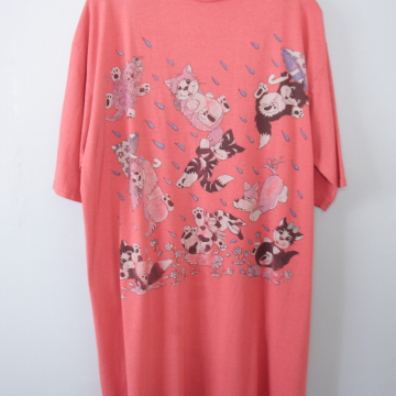 Vintage 80's raining cats and dogs tunic sleep shirt, men's size XL