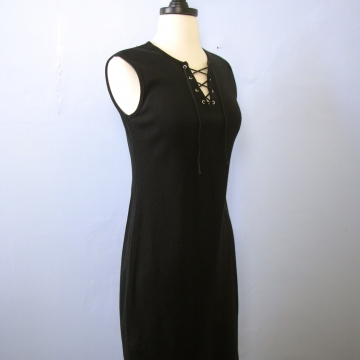 Vintage 90's ribbed knit sleeveless black mini dress, size small