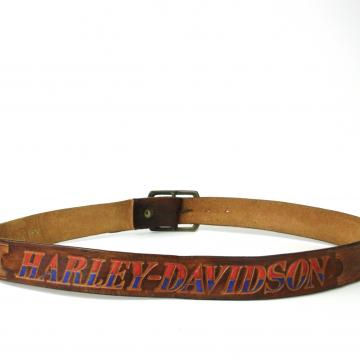 Vintage 80's Harley Davidson brown leather belt, size XL