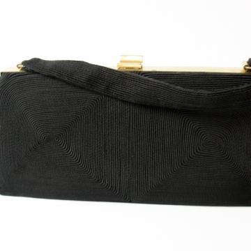 Vintage 40's Mid Century black Corde purse soutache handbag