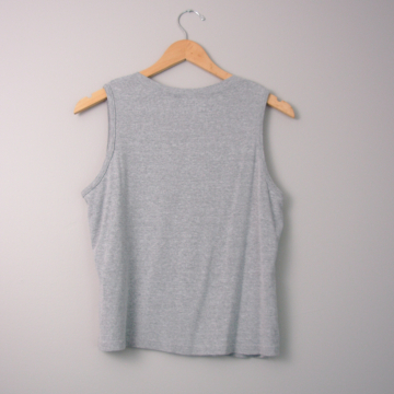 90's grey cropped tank top, women's size large