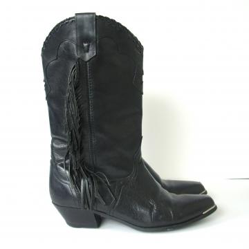 Vintage 80's black western cowboy boots with fringe, women's size 7