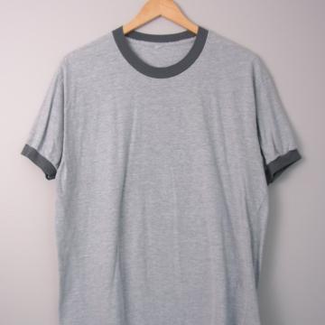 90's grey ringer tee shirt, men's size large