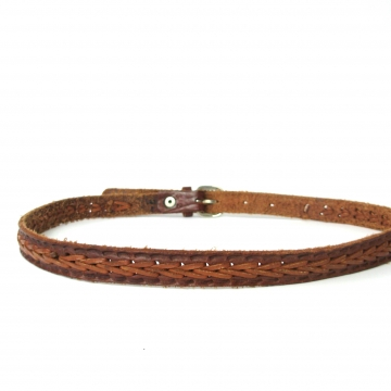 Vintage 90's brown braided leather skinny belt, size 32 / small