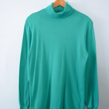 Vintage 80's teal turtleneck long sleeved shirt, women's size small