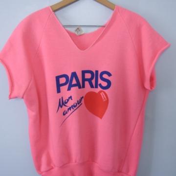 Vintage 80's Paris pink cropped sweatshirt, men's size small
