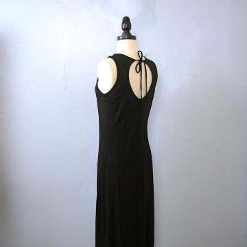 Vintage 90's long black dress with open back and side slit, size 8 / 6