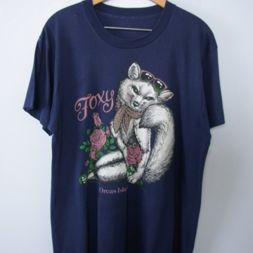 Vintage 80's Foxy graphic tee shirt, men's size large