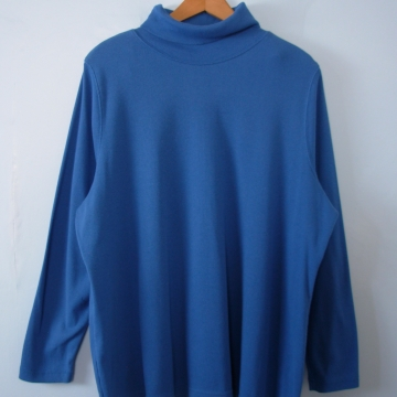 Vintage 90's ribbed knit blue turtleneck long sleeved shirt, women's size XL
