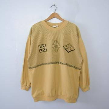 Vintage 80's groovy girls pale yellow sweatshirt, men's size large