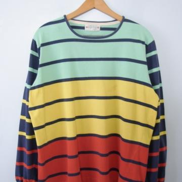 Vintage 80's striped color block tee shirt, men's size medium
