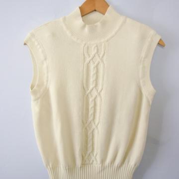 Vintage 90's cream off white sweater vest, women's size medium