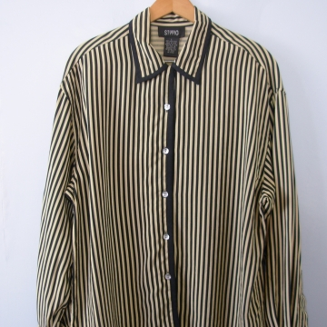 Vintage 90's black and beige striped silk blouse, size large