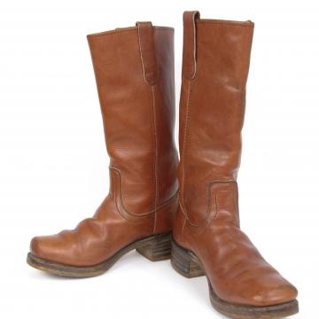 Vintage 80's caramel saddle brown leather campus boots, men's size 7.5