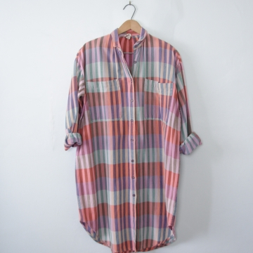 Vintage 80's plaid blouse long button up tunic, women's size small / medium