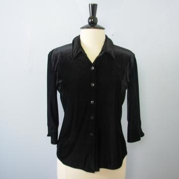 Vintage 90's black velvet blouse, women's size large
