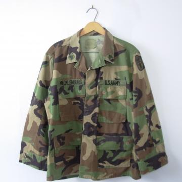 Vintage 90's camo jacket, army jacket, military camouflage fatigues, camo shirt, size medium - short