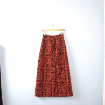 Vintage 70's floor length skirt, orange brocade skirt, size small / xs