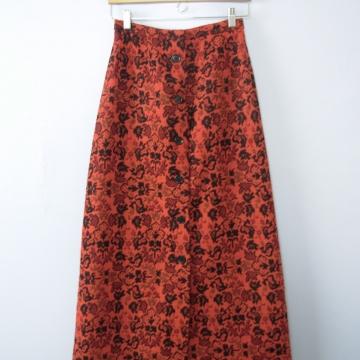 Vintage 70's floor length skirt, orange brocade skirt, size small / xs