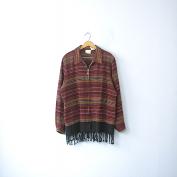 Vintage 90's red southwestern fleece jacket with fringe, size large