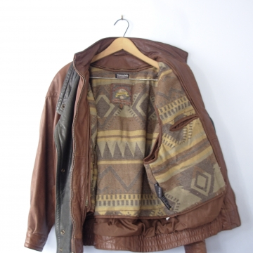 Vintage 80's distressed leather jacket, brown leather coat, women's size medium