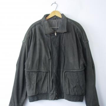 Vintage 80's distressed black leather bomber jacket, leather coat, men's size 46 / XL