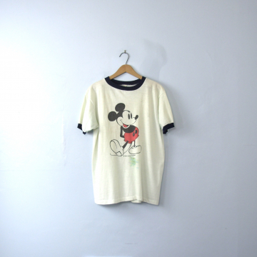 Vintage 70's rare Mickey Mouse shirt, graphic tee, ringer shirt, size medium
